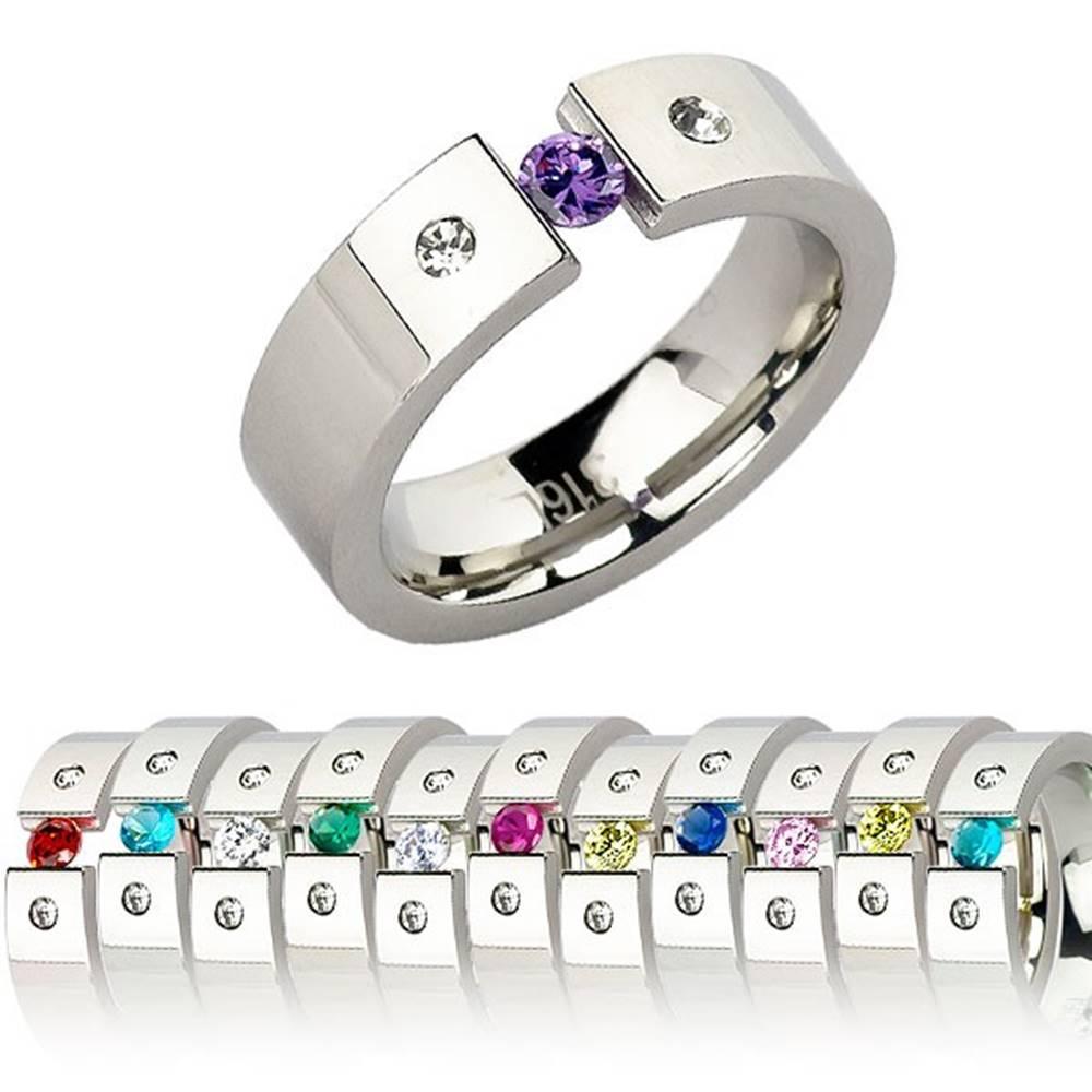 Šperky eshop Prsteň z chirurgickej ocele - s kamienkom mesiaca - Veľkosť: 51 mm, Farba: Fialová svetlá
