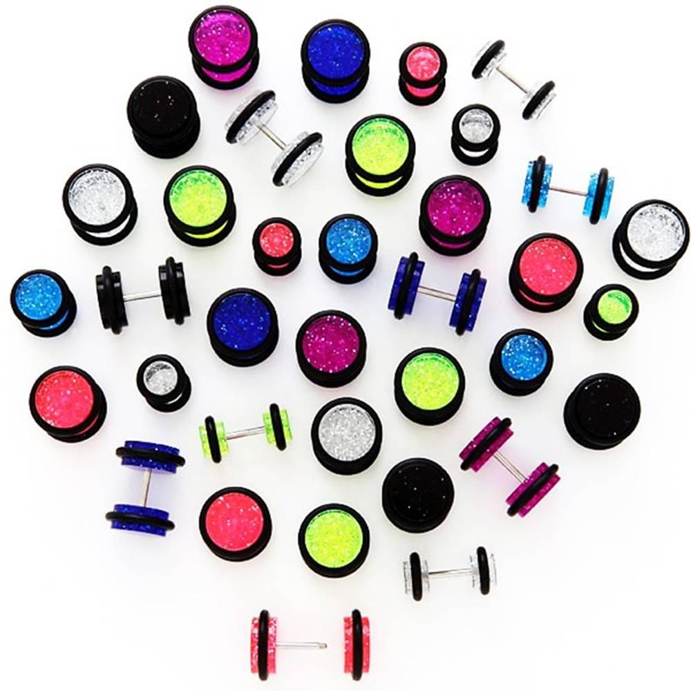 Šperky eshop Trblietavý falošný plug s čiernymi gumičkami - Veľkosť hlavičky: 10 mm, Farba piercing: Modrá