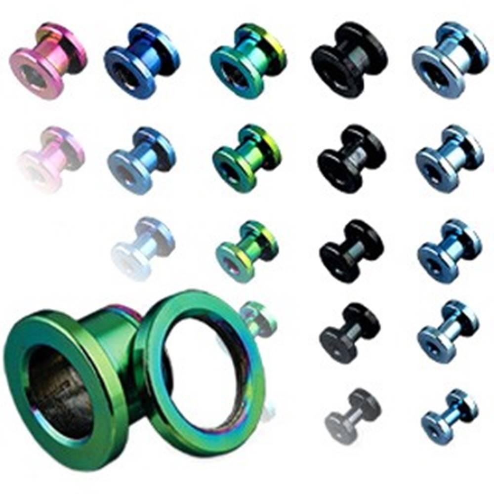 Šperky eshop Tunel do ucha z titánu, anodizovaný, viac farebný so šrubovaním - Hrúbka: 1,6 mm, Farba piercing: Modrá