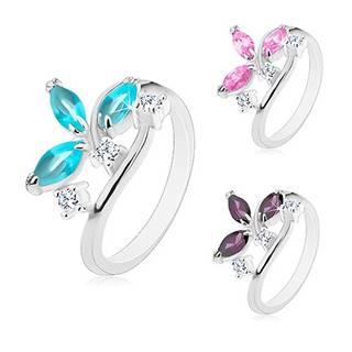 Lesklý prsteň - farebné zrniečkové zirkóny v kotlíku, číre zirkóniky - Veľkosť: 49 mm, Farba: Fialová tmavá
