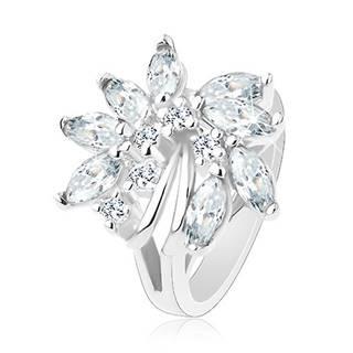 Ligotavý prsteň, strieborný odtieň, nesúmerný kvet zo zirkónov, lesklé oblúčiky - Veľkosť: 48 mm, Farba: Zelenožltá