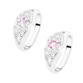 Ligotavý prsteň v striebornej farbe, rozdelené ramená, mašlička s farebným stredom - Veľkosť: 49 mm, Farba: Ružová
