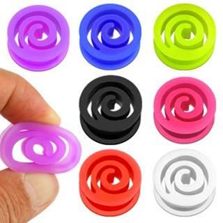 Plug do ucha špirála z flexibilného materiálu, rôzne farby - Hrúbka: 10 mm, Farba piercing: Fialová
