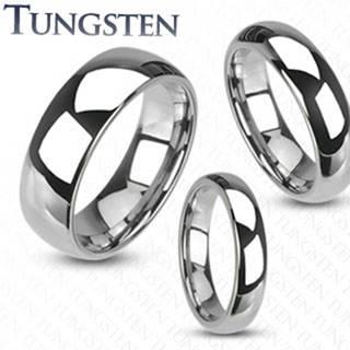 Wolfrámový prsteň - hladká lesklá obrúčka striebornej farby - Šírka: 4 mm, Veľkosť: 53 mm