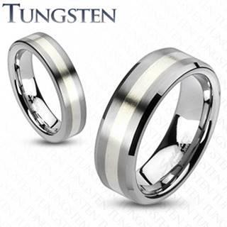 Wolfrámový prsteň - matný šedý s pásom striebornej farby - Veľkosť: 49 mm, Šírka: 8 mm