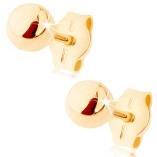 Zlaté náušnice 375 - malá lesklá gulička, puzetky