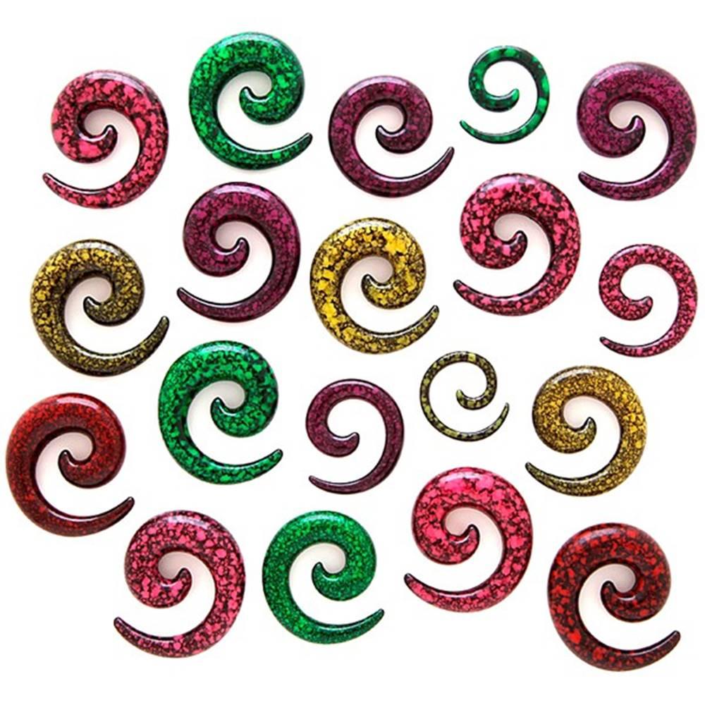 Šperky eshop Expander do ucha - špirála, fľakatý povrch - Hrúbka: 3 mm, Farba piercing: Zelená - Čierna