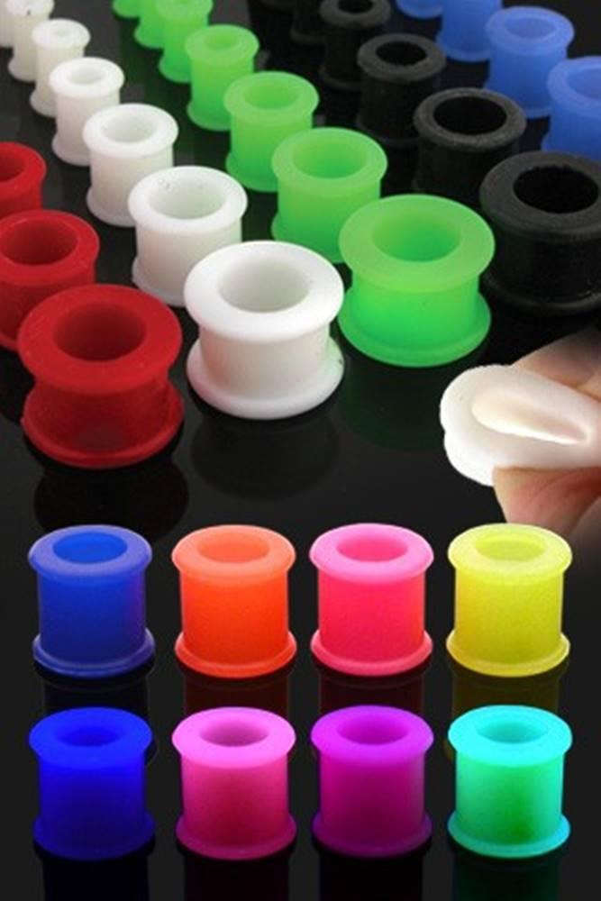 Šperky eshop Farebný silikónový tunel do ucha so zvýšenými okrajmi - Hrúbka: 10 mm, Farba piercing: Biela
