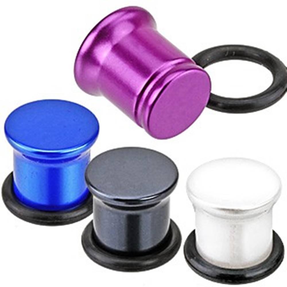 Šperky eshop Metalický plug do ucha z akrylu - perleťové farby - Hrúbka: 10 mm, Farba: Biela