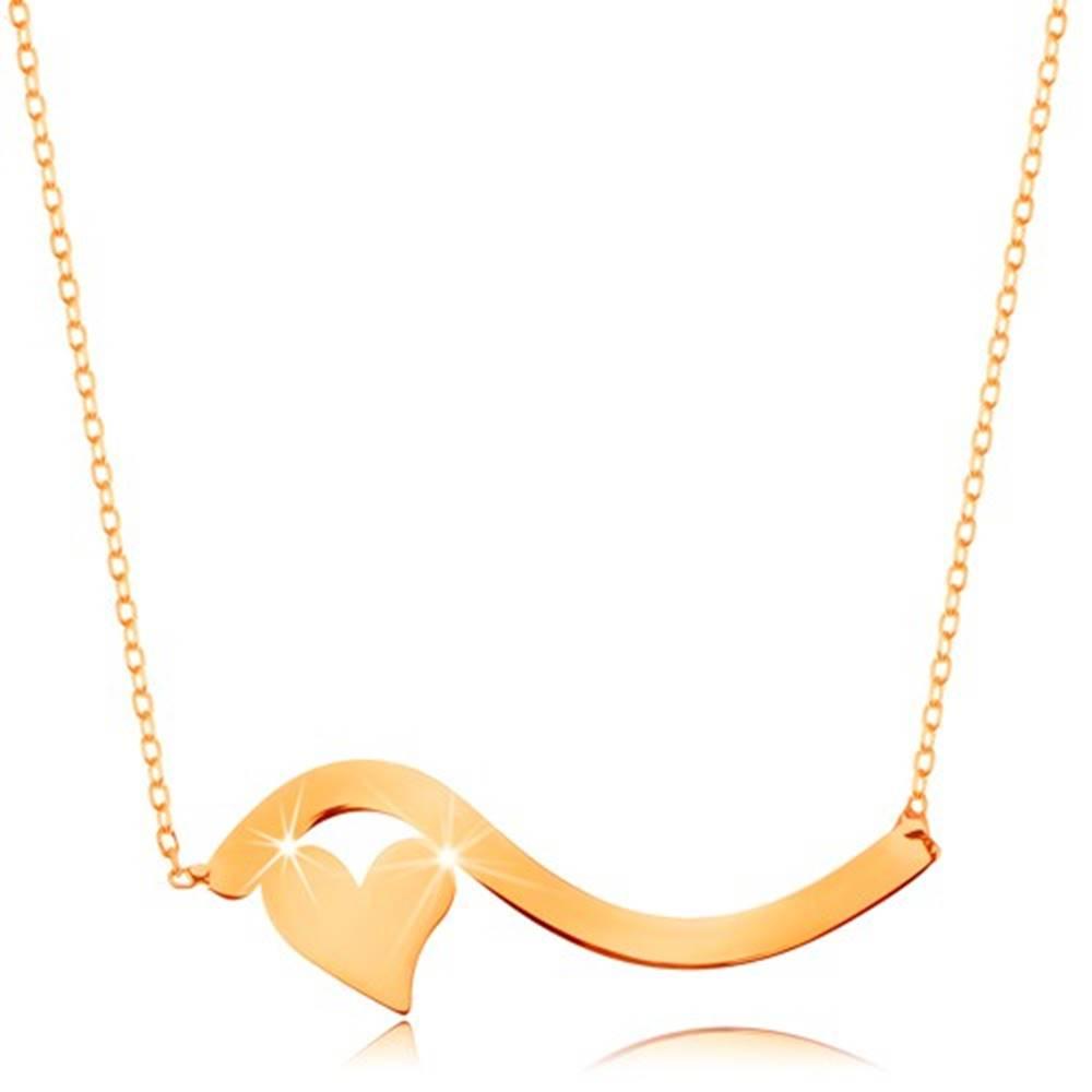 Šperky eshop Náhrdelník v žltom 14K zlate - vlnka a malé symetrické srdiečko, jemná retiazka