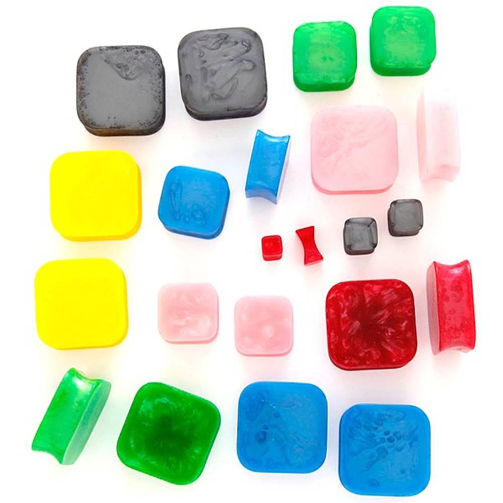 Šperky eshop Plug do ucha - mramorový živicový štvorec - Hrúbka: 10 mm, Farba piercing: Ružová