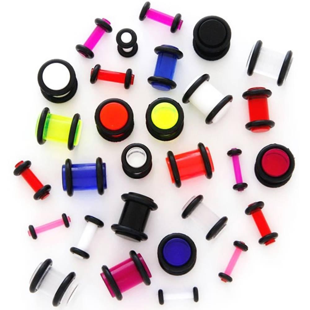 Šperky eshop Plug do ucha UV priehľadný s gumičkami - Hrúbka: 1,5 mm, Farba piercing: Modrá