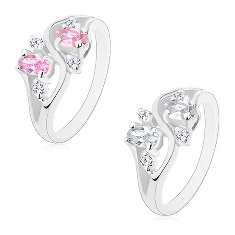 Šperky eshop Prsteň s lesklými rozdelenými ramenami, oválne a okrúhle zirkóny, vlnka - Veľkosť: 51 mm, Farba: Ružová