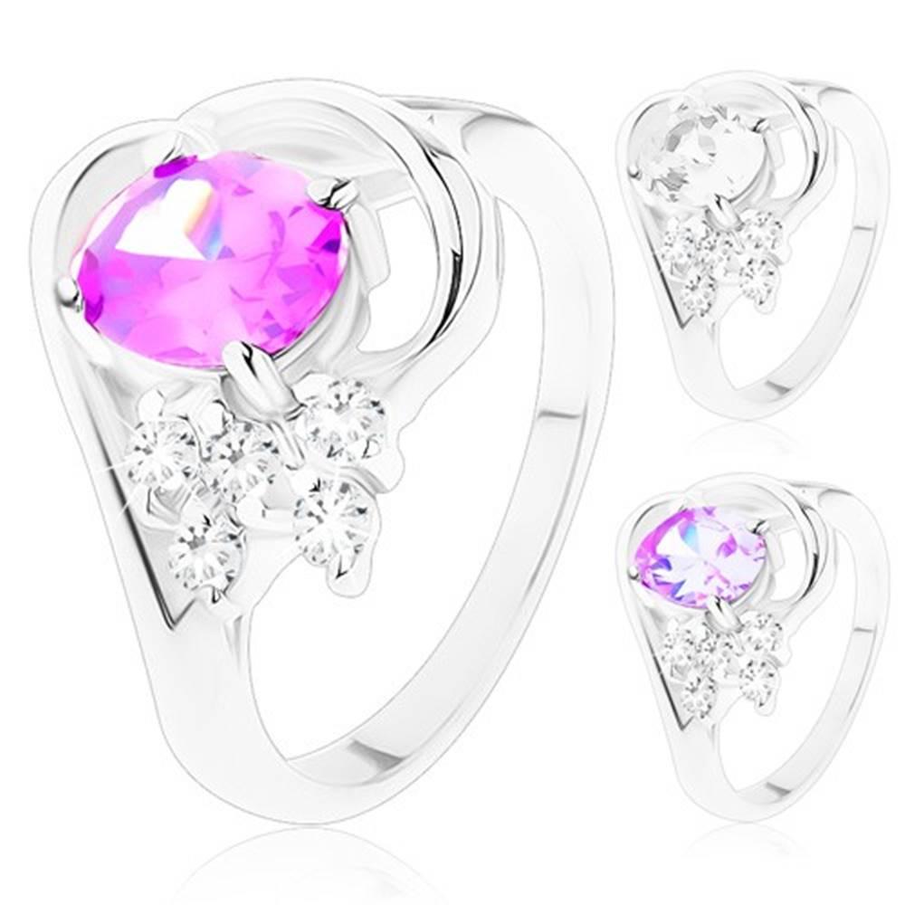 Šperky eshop Prsteň so zahnutými ramenami, veľký oválny zirkón, lesklý oblúk, číre zirkóniky - Veľkosť: 49 mm, Farba: Fialová