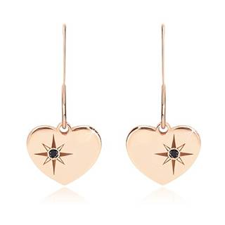 Čierny diamant - strieborné náušnice 925, súmerné srdce ružovozlatej farby, severná hviezda