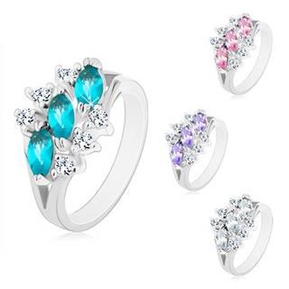Lesklý prsteň v striebornom odtieni, tri zirkónové zrnká, číre zirkóniky - Veľkosť: 49 mm, Farba: Číra
