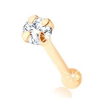 Piercing do nosa zo žltého 14K zlata - rovný tvar, okrúhly číry zirkónik, 2,5 mm