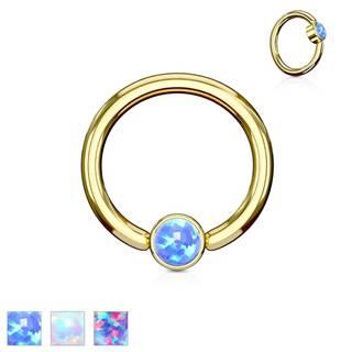 Piercing z ocele 316L, lesklý krúžok zlatej farby so syntetickým opálom - Hrúbka x priemer x veľkosť guličky: 1,2 x 8 x 3 mm, Farba: Fialová