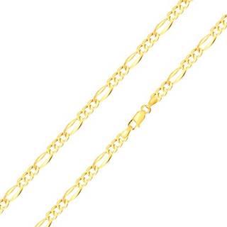 Retiazka zo žltého zlata 585 - tri oválne očká, podlhovasté očko, rozšírené okraje, 550 mm