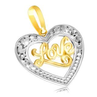 """Zlatý prívesok 585 - lesklé súmerné srdiečko s nápisom """"Love"""""""
