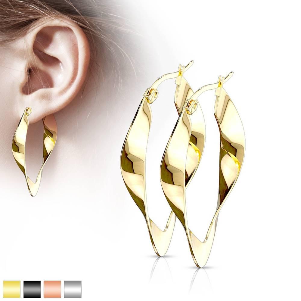 Šperky eshop Lesklé oválne oceľové náušnice - jemne zvlnená stuha, francúzsky zámok - Farba: Čierna