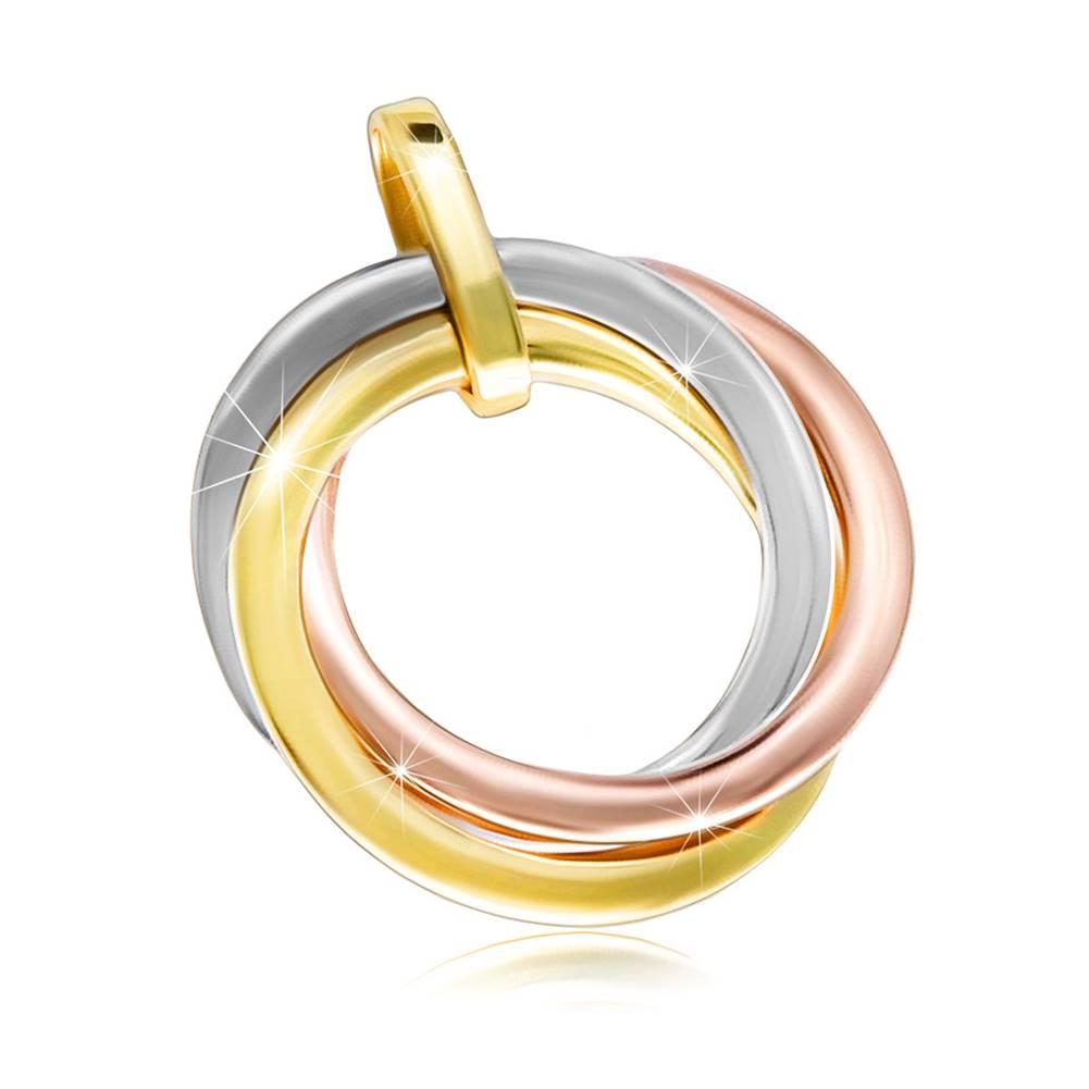 Šperky eshop Lesklý prívesok z kombinovaného zlata 585 - tri okrúhle prstence
