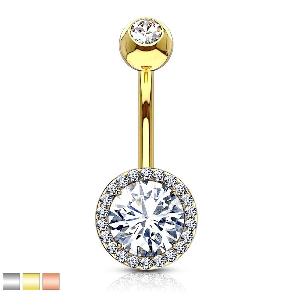Šperky eshop Oceľový piercing do brucha - trblietavý zirkón v kotlíku, menšie zirkóniky - Farba piercing: Medená