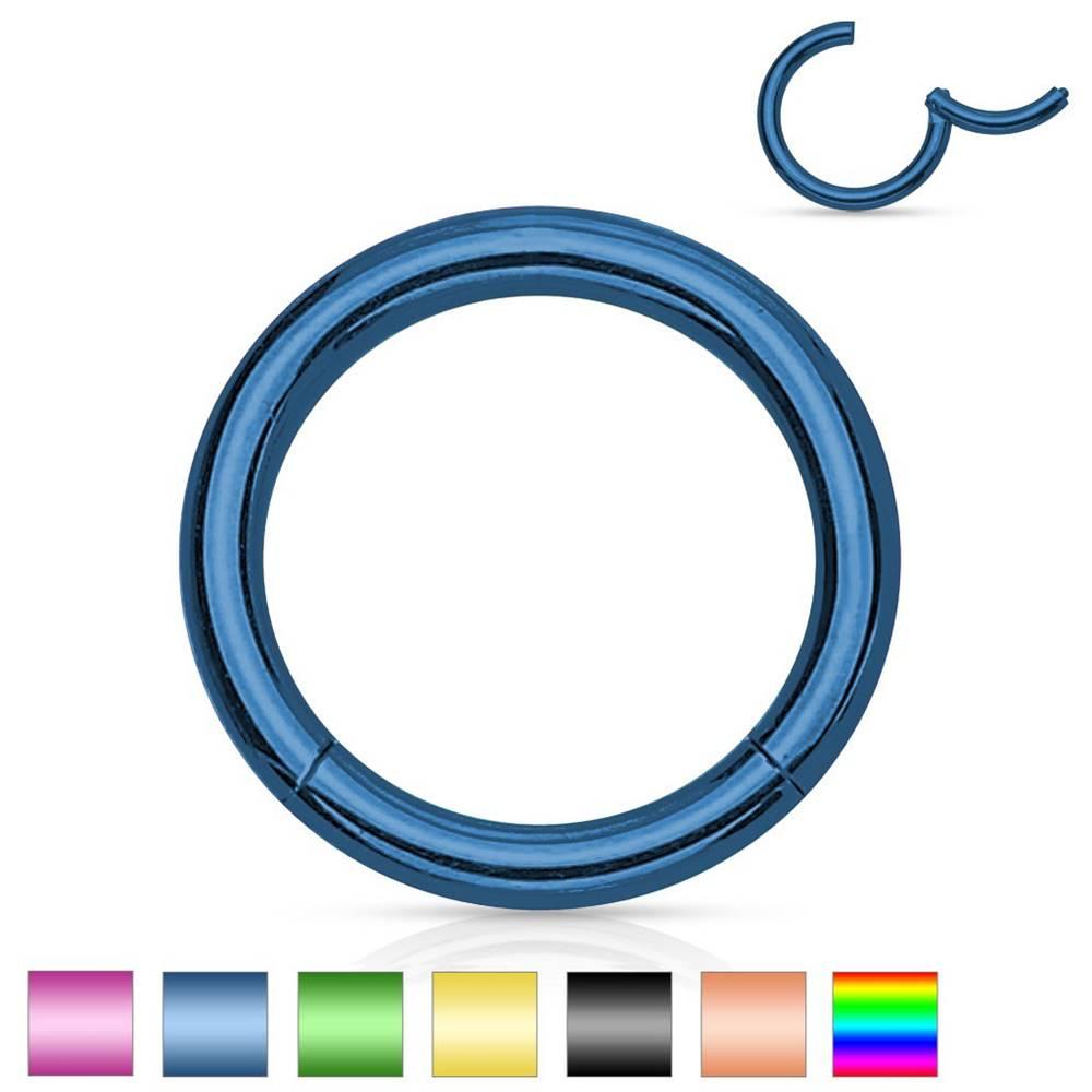 Šperky eshop Oceľový piercing do nosa a ucha, jednoduchý lesklý krúžok, 1,6 mm - Hrúbka x priemer: 1,6 mm x 12 mm, Farba piercing: Medená
