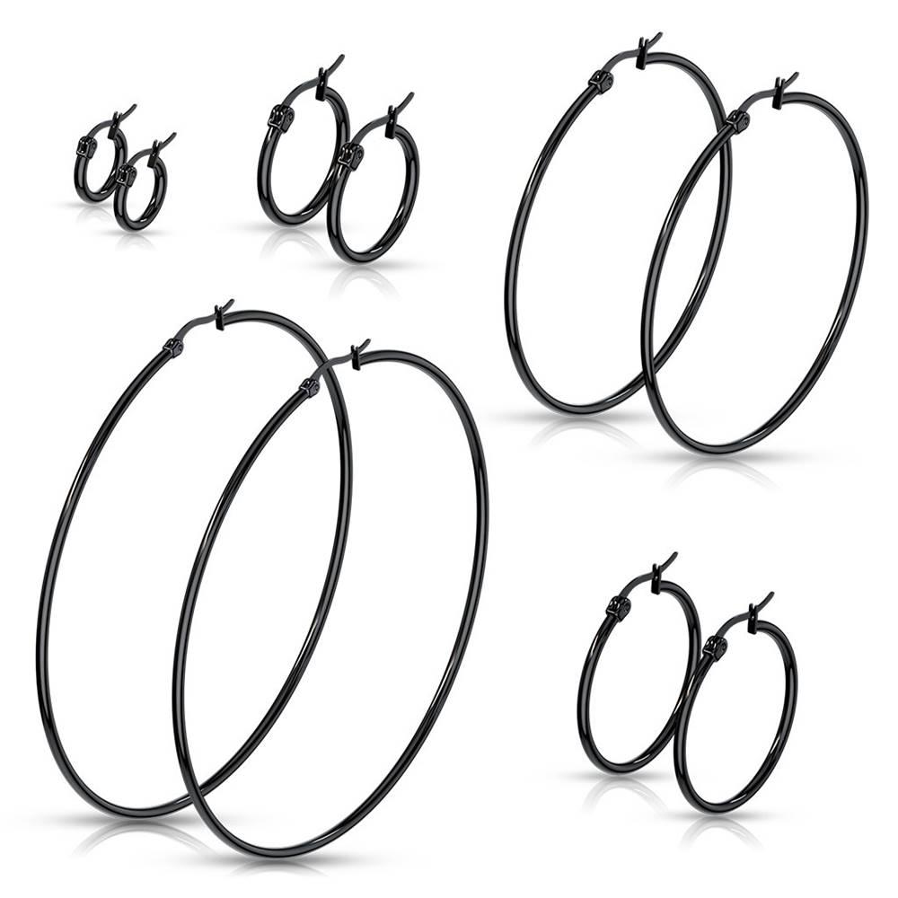 Šperky eshop Okrúhle náušnice z ocele 316L - lesklé čierne kruhy, francúzsky zámok - Priemer: 10 mm