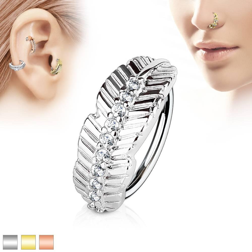 Šperky eshop Piercing krúžok z chirurgickej ocele, úzky list s líniou čírych zirkónov - Hrúbka x priemer: 0,8 mm x 8 mm, Farba piercing: Medená