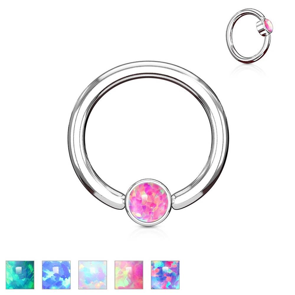 Šperky eshop Piercing z ocele 316L striebornej farby, krúžok so syntetickým opálom - Hrúbka x priemer x veľkosť guličky: 1,2 x 8 x 3 mm, Farba: Fialová