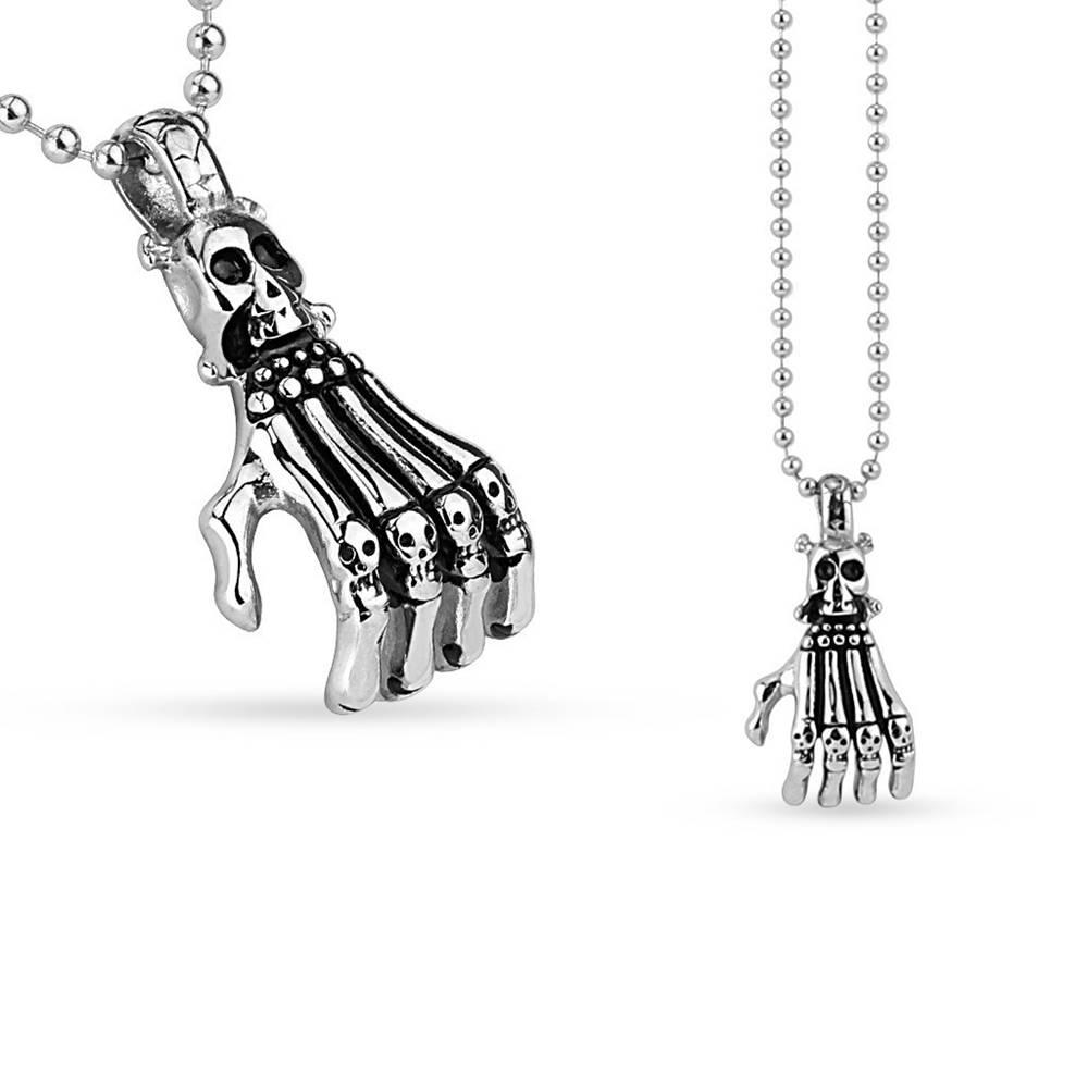 Šperky eshop Prívesok z chirurgickej ocele - kostra ruky a lebka