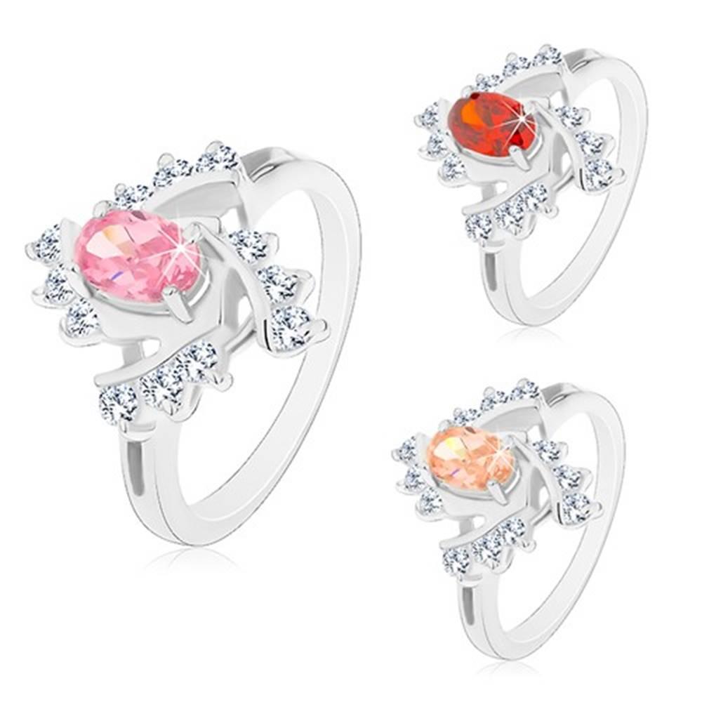 Šperky eshop Prsteň s rozdelenými ramenami, farebný ovál, číre špirálovité línie - Veľkosť: 49 mm, Farba: Svetlooranžová