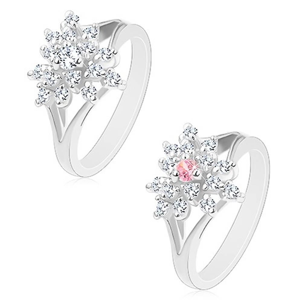 Šperky eshop Prsteň striebornej farby, číry zirkónový kvietok s farebným stredom - Veľkosť: 54 mm, Farba: Ružová