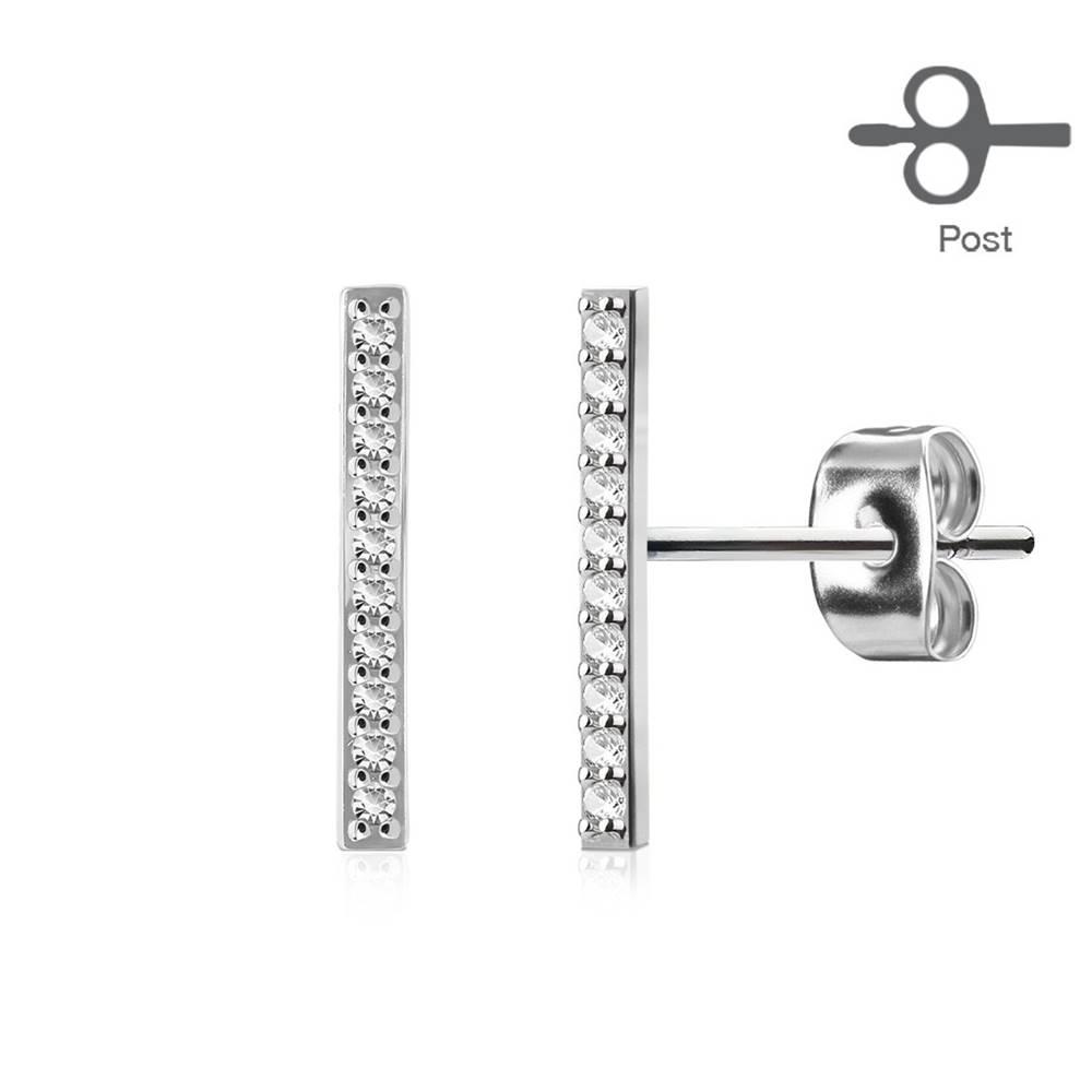 Šperky eshop Puzetové náušnice, oceľ 316L, trblietavý rovný pásik z čírych zirkónov