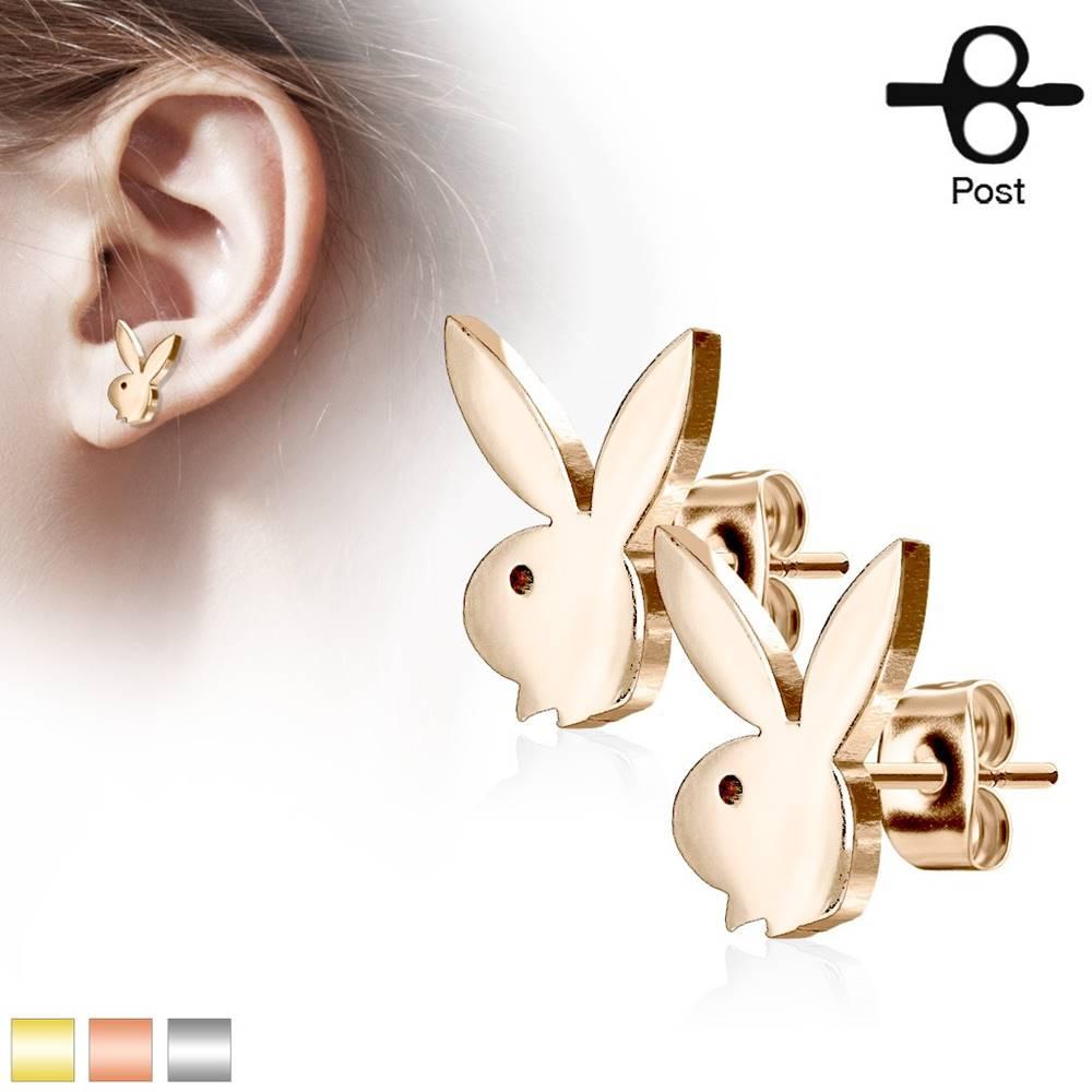 Šperky eshop Puzetové oceľové náušnice, zajačik, lesklý hladký povrch - Farba: Medená