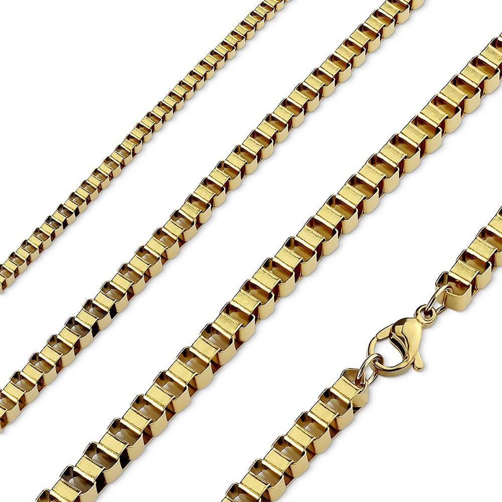 Šperky eshop Retiazka z chirurgickej ocele zlatej farby, lesklé hranaté očká - Hrúbka: 2 mm, Dĺžka: 510 mm