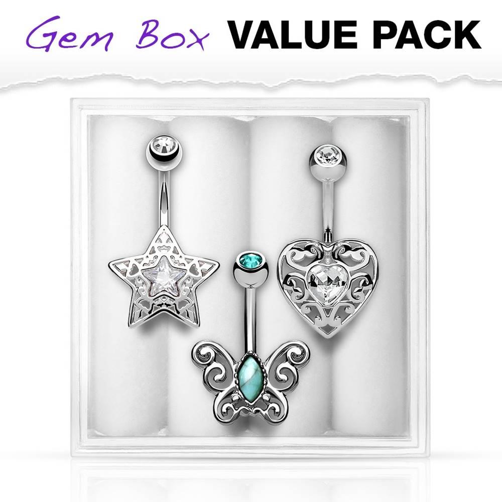 Šperky eshop Set piercingov do brucha z chirurgickej ocele, motýľ, srdce a hviezda
