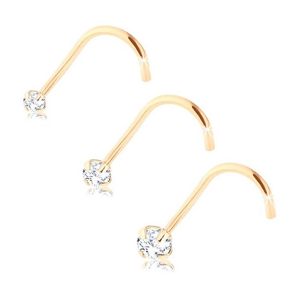 Šperky eshop Set troch zlatých 375 piercingov do nosa, okrúhle číre zirkóny, rôzne veľkosti