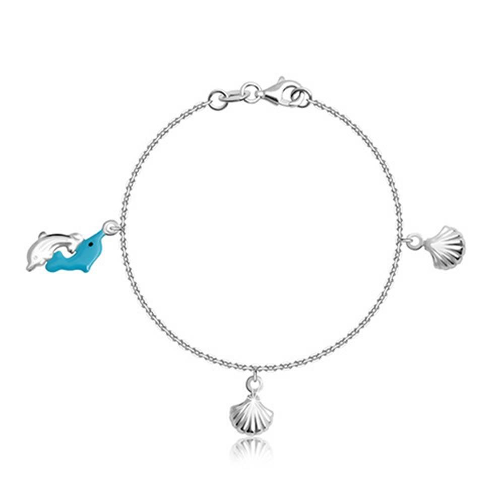 Šperky eshop Strieborný náramok 925 pre deti - dva skákajúce delfíniky a mušle so zárezmi