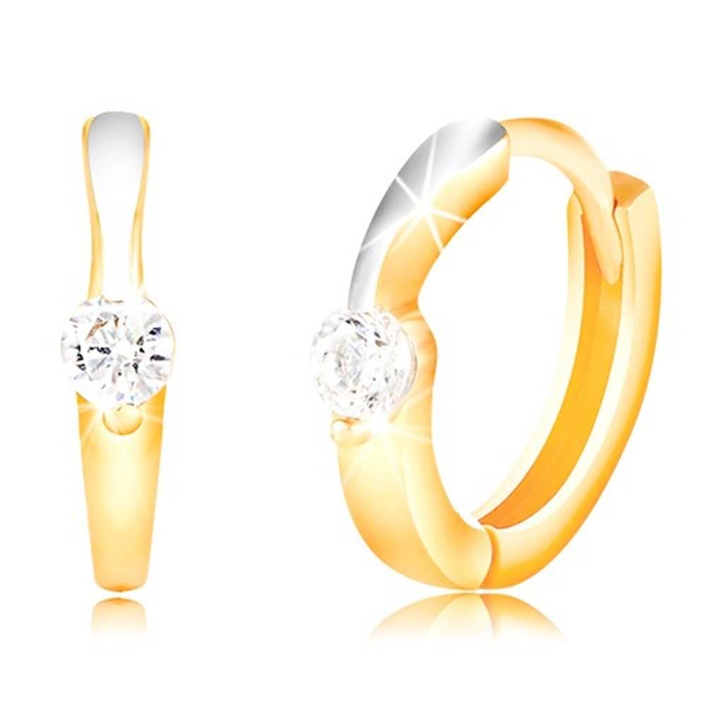 Šperky eshop Zlaté okrúhle náušnice 585 - úzka línia z bieleho zlata, číry zirkón