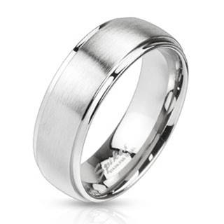 Oceľový prsteň striebornej farby - matný pásik uprostred, 8 mm - Veľkosť: 59 mm