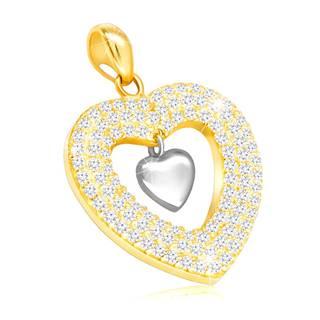 Prívesok v kombinovanom zlate 585 - lesklé srdiečko a kontúra srdca s čírymi zirkónmi