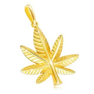 Prívesok v žltom 14K zlate - marihuanový list so zárezmi