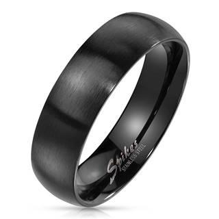 Prsteň z ocele v čiernom farebnom odtieni - široké ramená s matným povrchom, 6 mm - Veľkosť: 49 mm