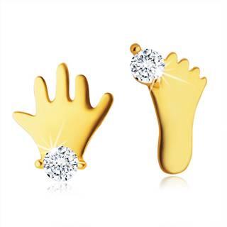 Puzetové náušnice v žltom 14K zlate - silueta nožičky a rúčky s čírym zirkónom