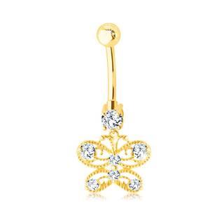 Zlatý 585 piercing do bruška - vyrezávaný motýlik s čírymi zirkónikmi