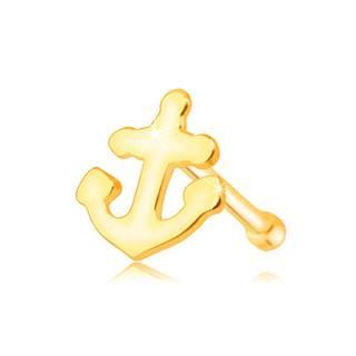 Zlatý 585 piercing do nosa - lesklá kotvička