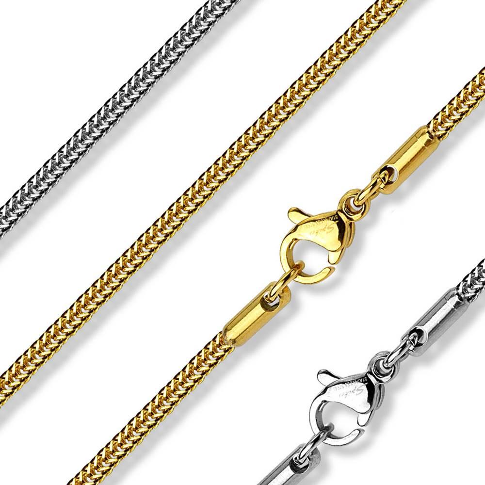 Šperky eshop Hranatá retiazka z ocele - retiazka z husto pospájaných očiek, 530 mm - Farba: Strieborná