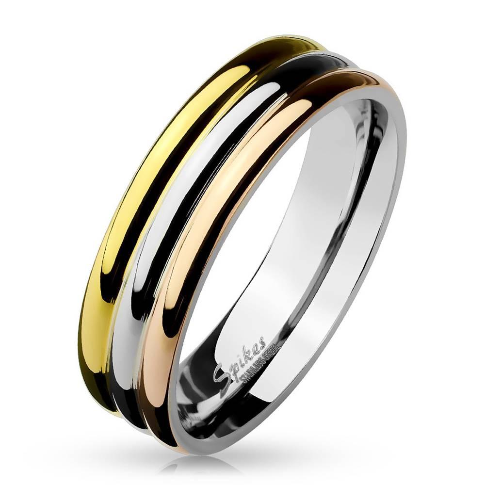 Šperky eshop Obrúčka z ocele - tri lesklé pruhy v medenej, zlatej a striebornej farbe, 6 mm - Veľkosť: 52 mm